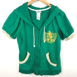 Mickey Green Gold Short Sleeve Zip Up Sweater L